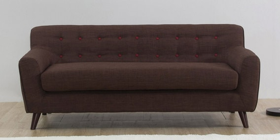 San Bruno Three Seater Sofa in Dark Brown Colour by CasaCraft