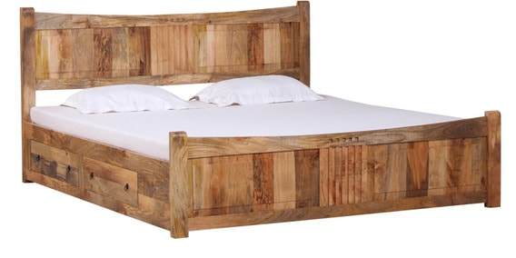 Buy San Marino Solid Wood King Size Bed with storage in Natural