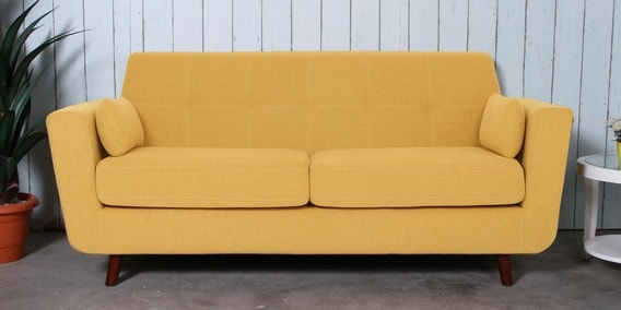 Santiago Three Seater Sofa in Camel Yellow Colour by CasaCraft