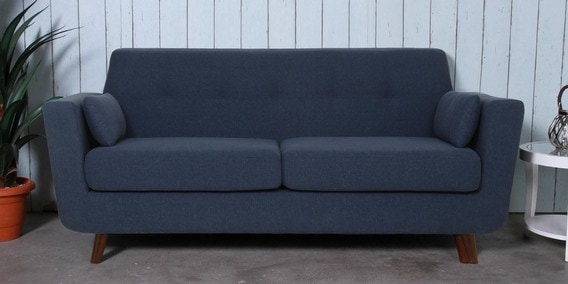 Santiago Three Seater Sofa in Navy Blue Colour by CasaCraft