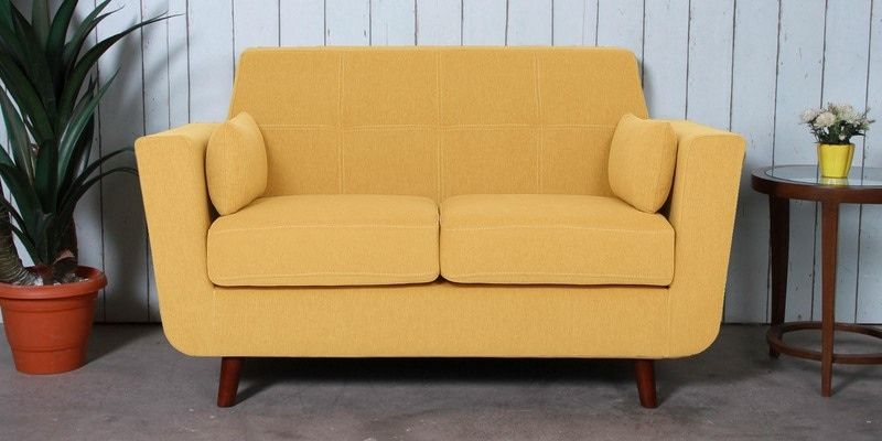 Santiago Two Seater Sofa in Camel Yellow Colour by CasaCraft