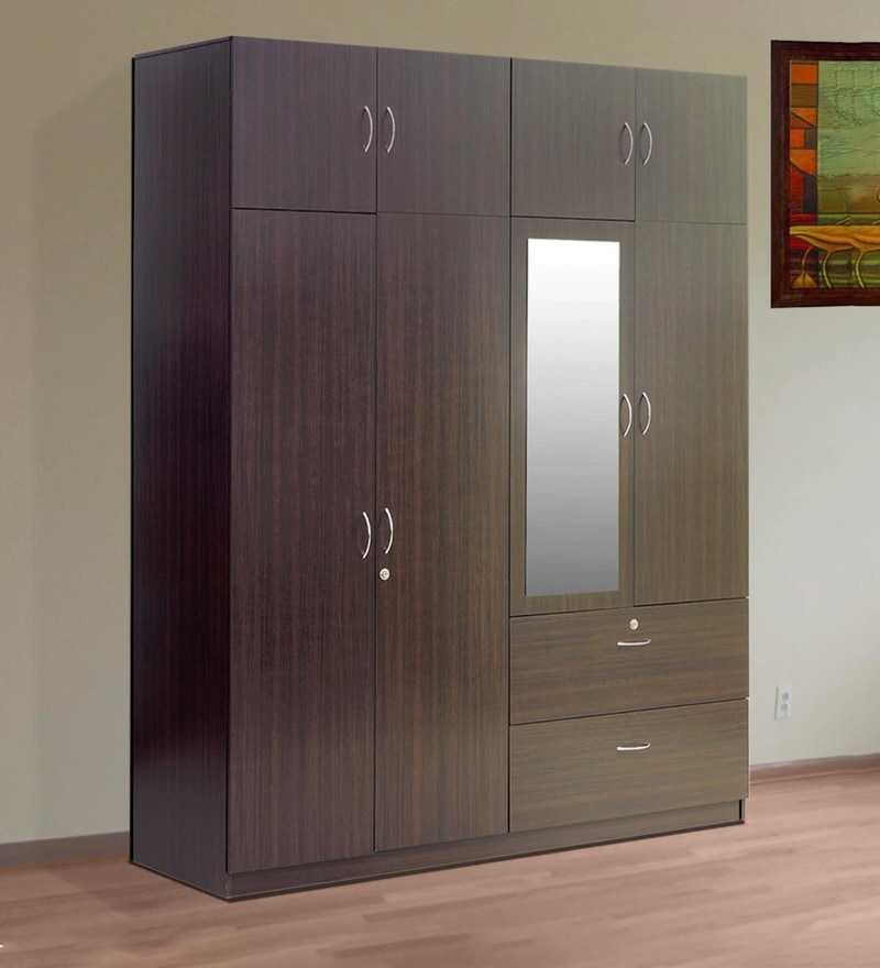 Buy eco four door wardrobe in wenge finish by housefull for Wardrobe finishes