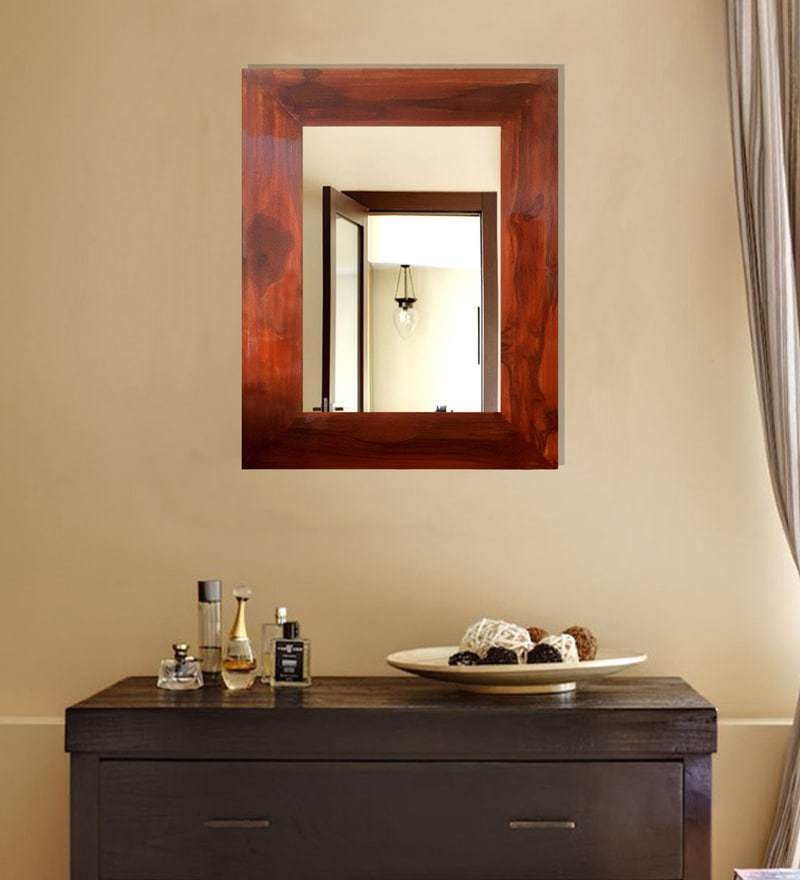 Brown Teak Wood Mirror with Hooks for Wall Hanging by Divine Decor