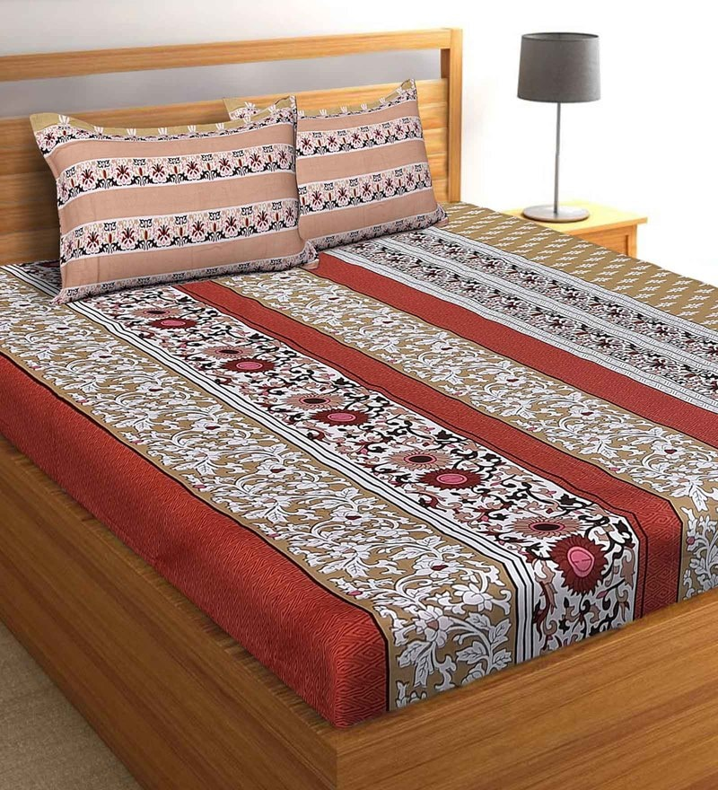 Salona Bichona Brown 100 % Cotton 87 x 98 Inch Double Bedsheet with Two Pillow Cover