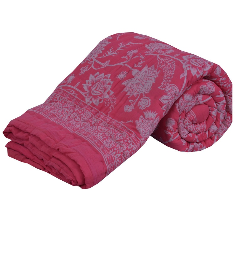 Pink Cotton Lotus Print 98 x 86 Inch Double Quilt by Salona Bichona