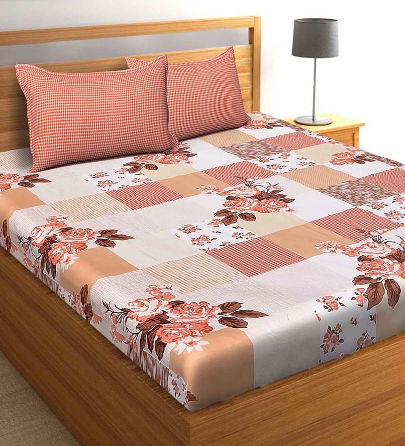 Salona Bichona Orange 100 % Cotton 108 x 108 Inch King Bedsheet with Two Pillow Cover