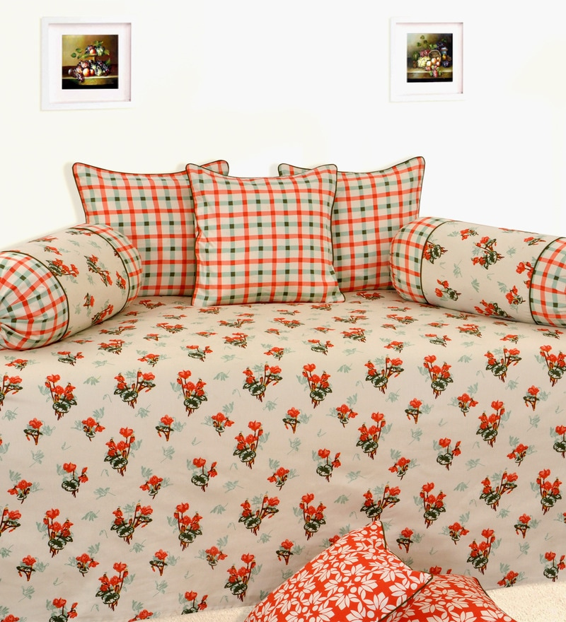 Orange Cotton Floral Diwan Set - Set of 6 by Salona Bichona