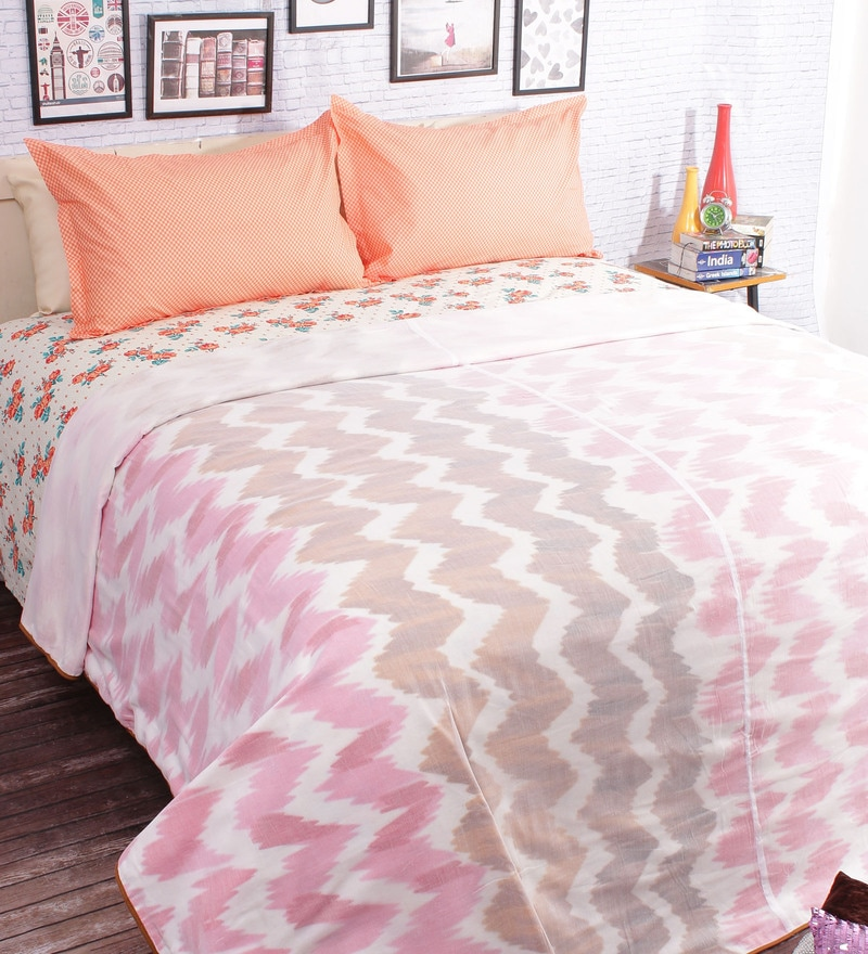 Pink 100% Cotton Queen Size Blanket by Salona Bichona