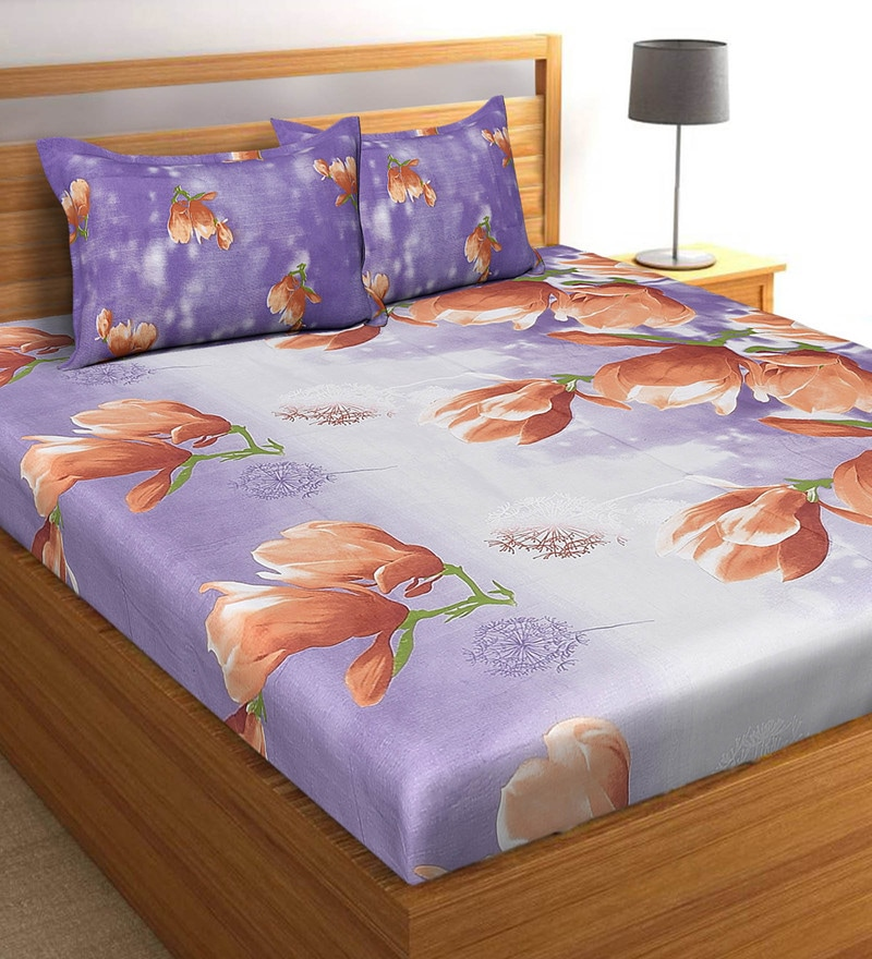Salona Bichona Purple 100 % Cotton 108 x 108 Inch King Bedsheet with Two Pillow Cover