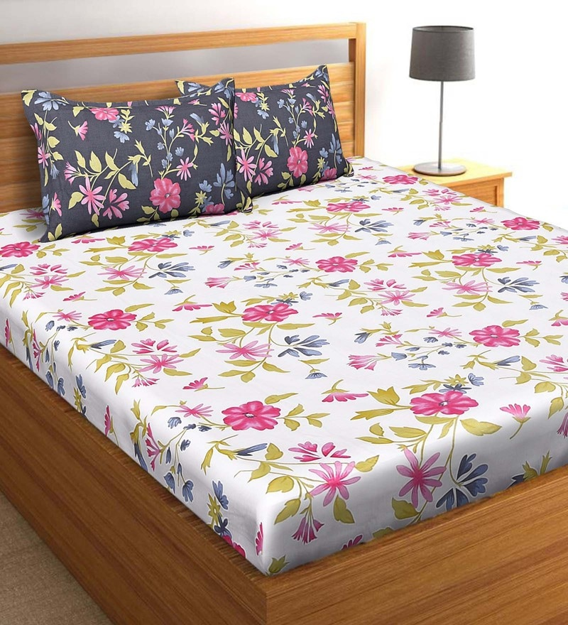 Salona Bichona White 100 % Cotton 108 x 108 Inch King Bedsheet with Two Pillow Cover