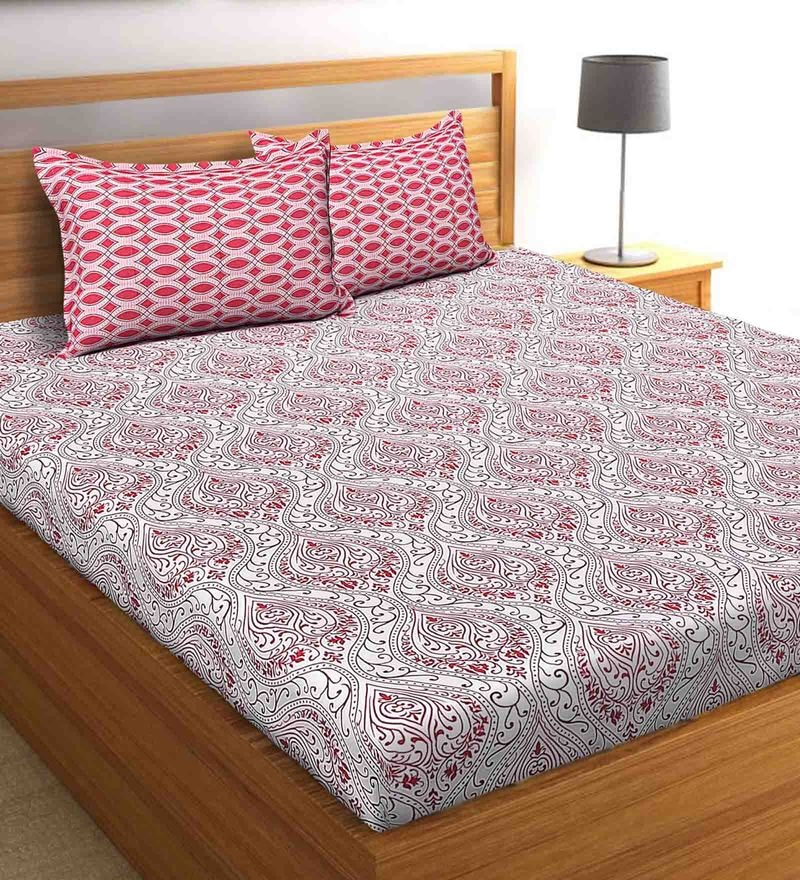 Salona Bichona White 100 % Cotton 87 x 98 Inch Double Bedsheet with Two Pillow Cover