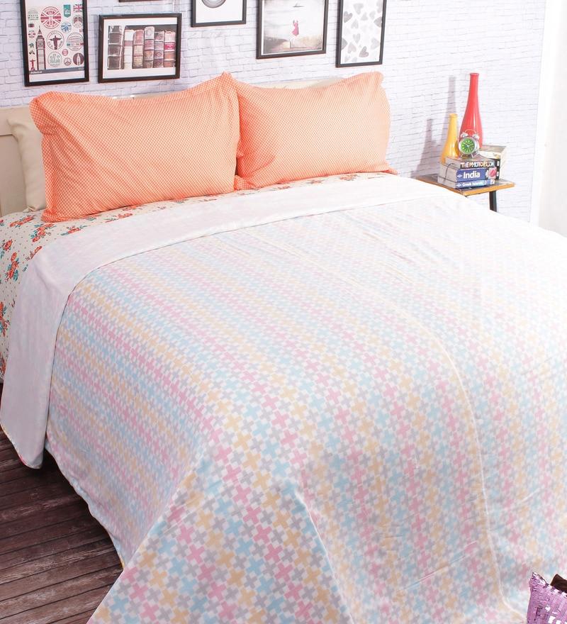 White 100% Cotton Queen Size Blanket by Salona Bichona