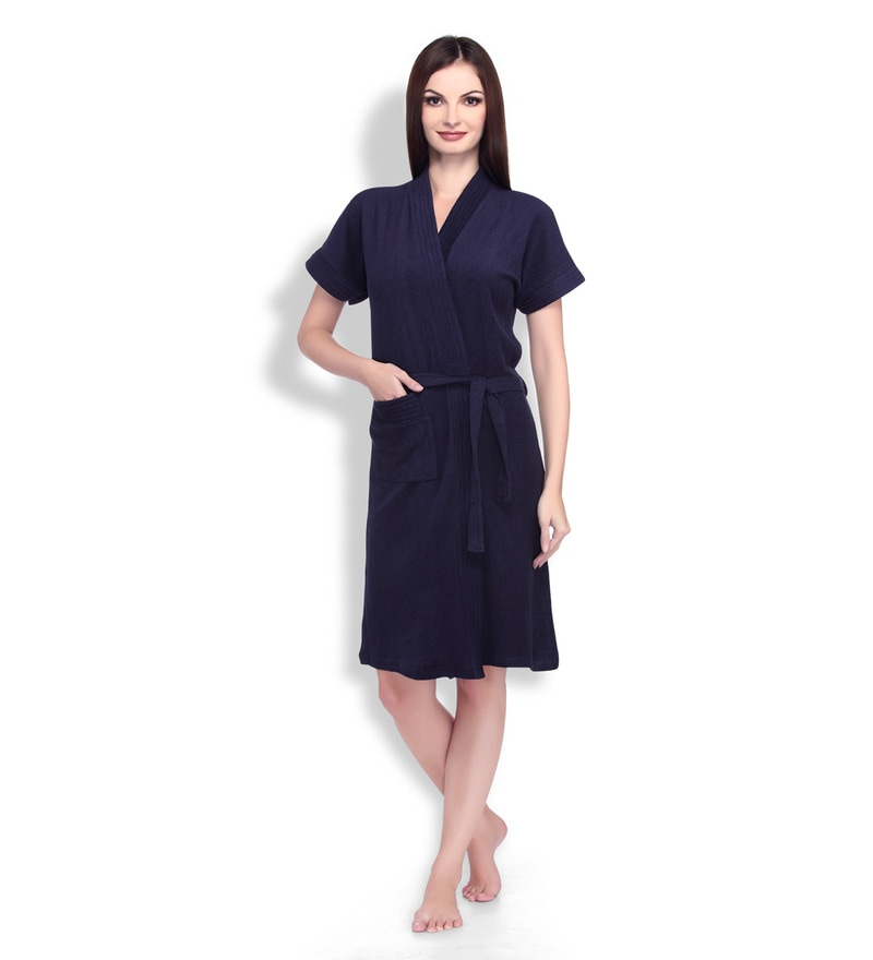 Navy Blue Cotton Ladies Bathrobe by Sand Dune