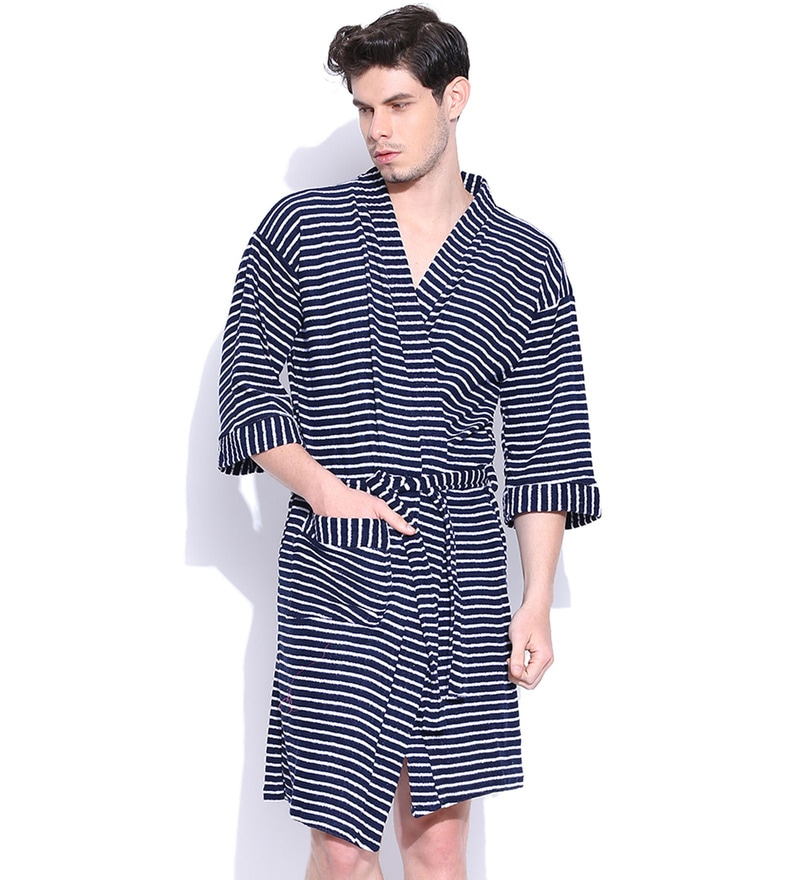 Navy Blue Cotton Long Sleeves Gents Bathrobe by Sand Dune
