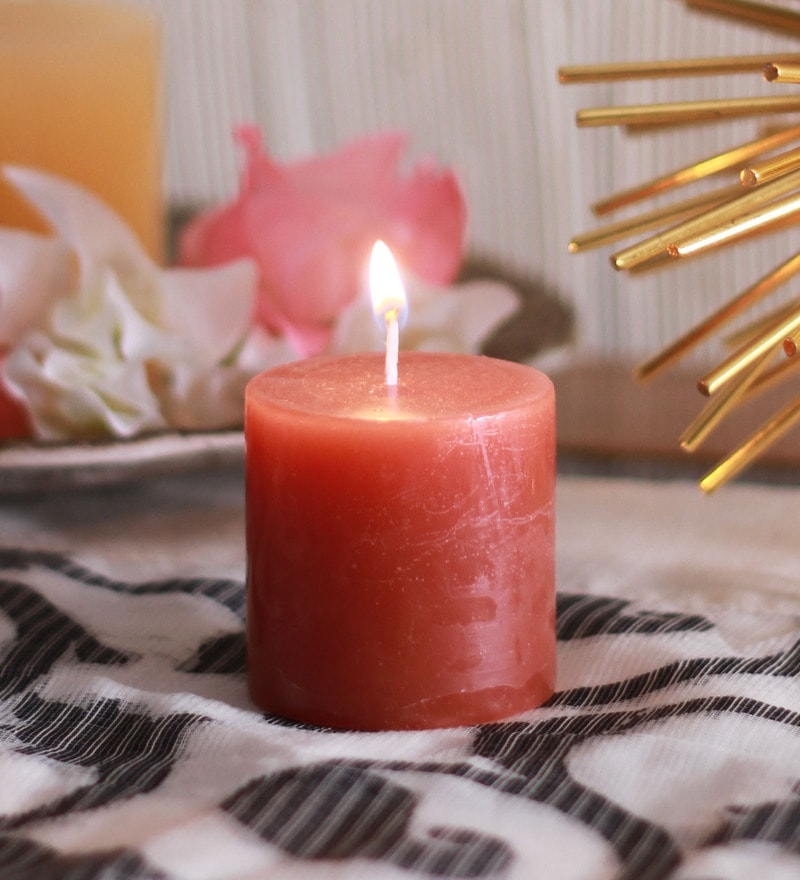 Sandalwood Scented Pillar Candles by Aroma India