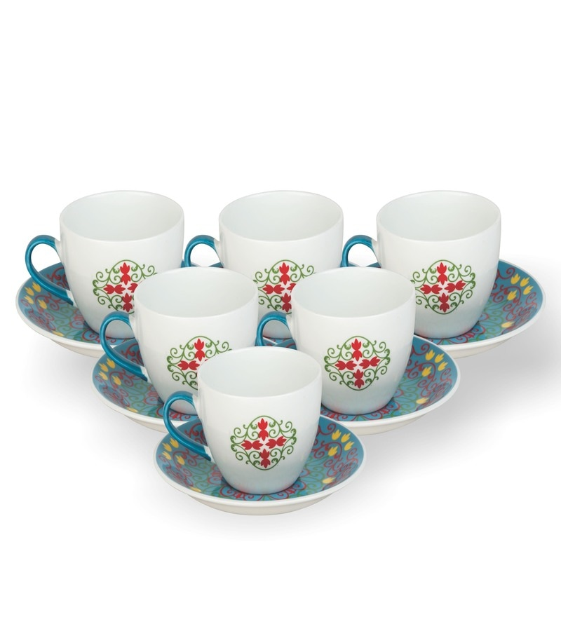 Sanjeev Kapoor Bageecha Blue Collection Bone China 140 ML Cup & Saucer - Set of 6
