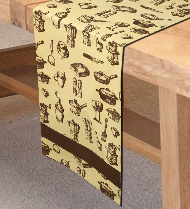 Sanjeev Kapoor's Bon Appetit Desert Safari Beige Cotton 54 x 12 Inch Table Runner