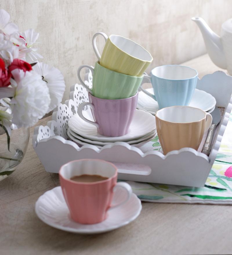 Sanjeev Kapoor's  Flute Cups & Saucers - Set of 6