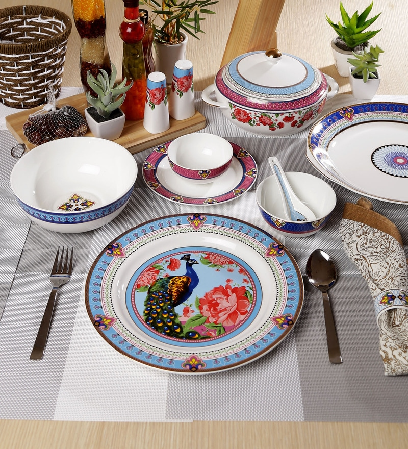 Mayura Collection Bone China Dinner Set - Set of 48 by Sanjeev Kapoor