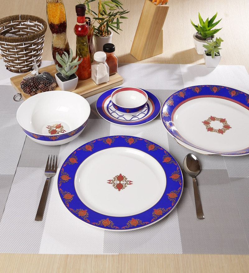 Noor Collection Bone China Dinner Set - Set of 27 by Sanjeev Kapoor