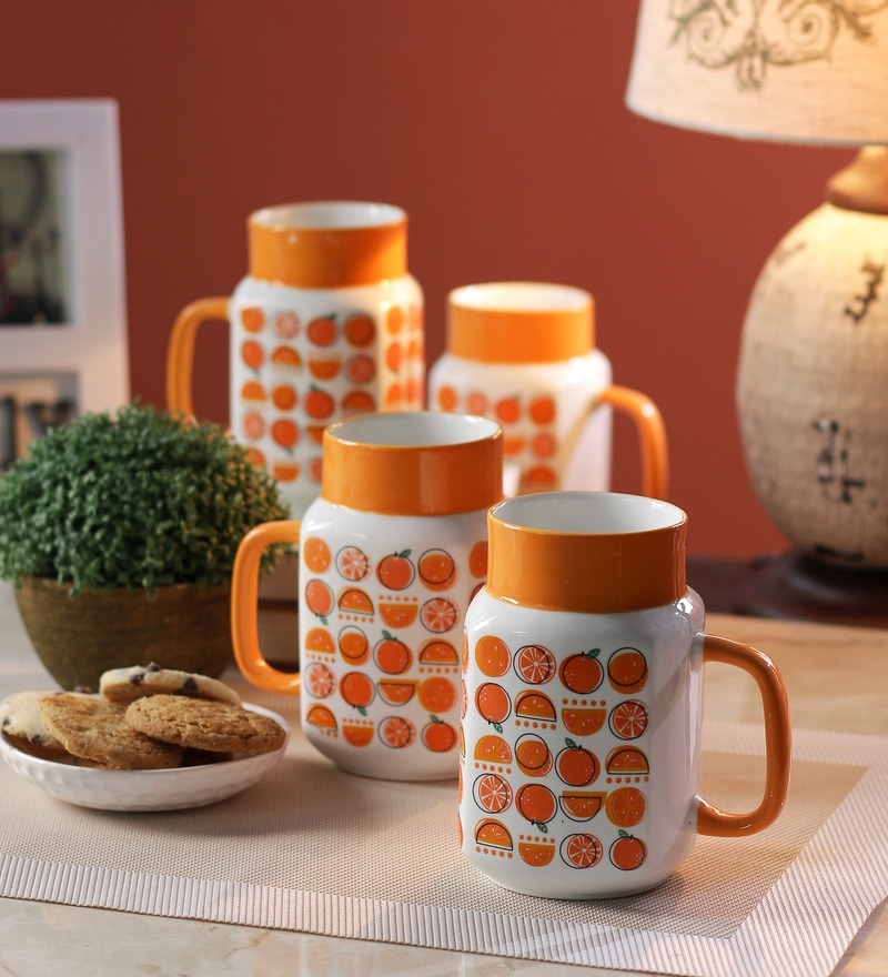 Sanjeev Kapoor Orange Bone China 550 ML Mason Mug - Set of 4