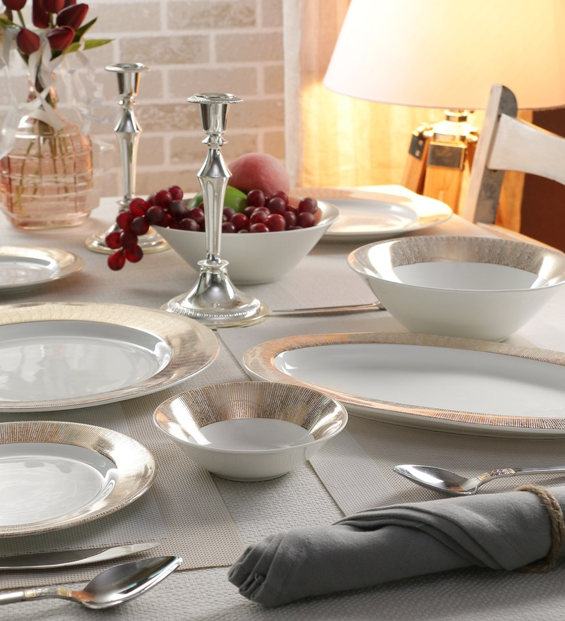 Prism Collection Bone China Dinner Set - Set of 27 by Sanjeev Kapoor