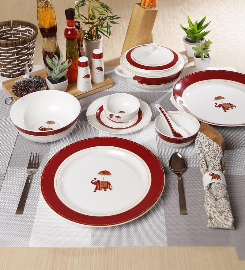 Utsav Collection Bone China Dinner Set - Set of 48 by Sanjeev Kapoor