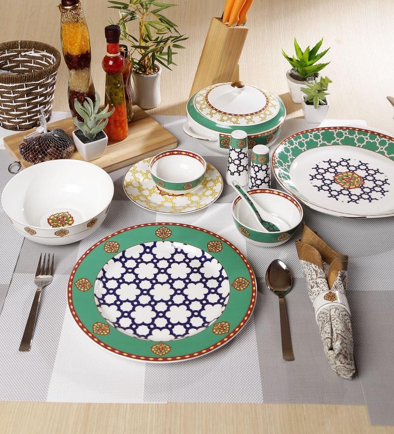 Virasat Collection Bone China Dinner Set - Set of 48 by Sanjeev Kapoor