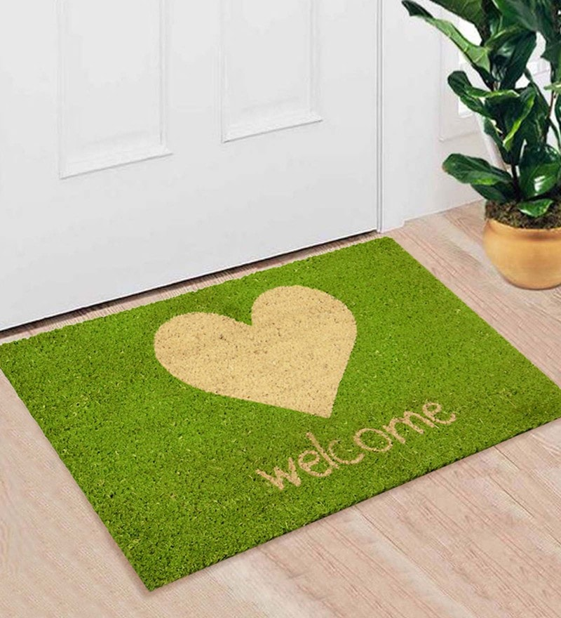 Green Coir 24 x 16 Inch Premium Quality Welcome Door Mat by Saral Home