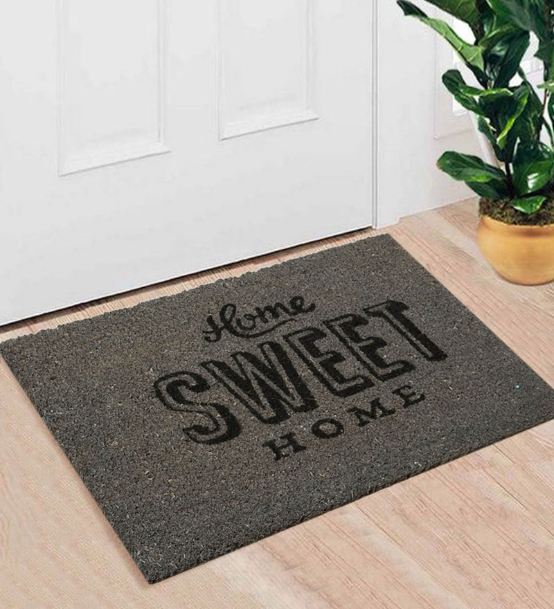 Grey Coir 24 x 16 Inch Premium Quality Home Door Mat by Saral Home