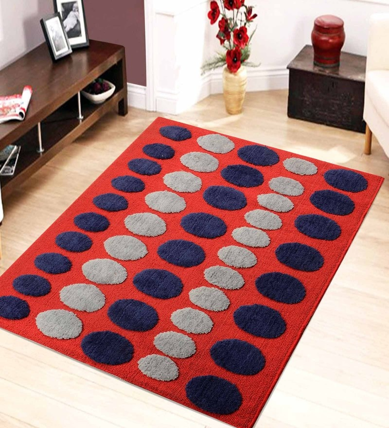 Multicolour Microfiber 72 x 48 Inch Very Soft Tufted Area Rug by Saral Home