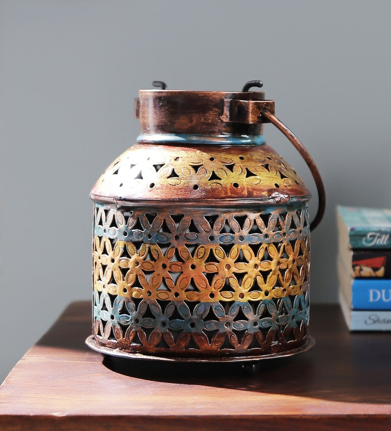 Multicolour Metal Painted Tea Light Holder by Satyam International