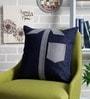 Sadyaska Indigo Denim Fabric 16 x 16 Inch Shirted Patchwork Cushion Cover