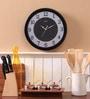 Black MDF 11.5 Inch Round Glass Effect Wall Clock by Safal Quartz