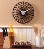 Brown MDF 12 Inch Round Curved Lines with Dots Wall Clock by Safal Quartz