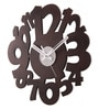 Brown MDF 12 Inch Round Small & Big Figured Combo Wall Clock by Safal Quartz