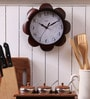 Safal Quartz Brown MDF 9 Inch Round Sunflower Look Kitchen Beauty Wall Clock