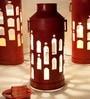 Red Milkcan Floor Lamp - Small by Sahil Sarthak Designs