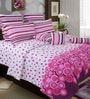 Salona Bichona Pink & White Geometric Double Bed Sheet Set