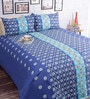 Salona Bichona Blue Cotton 98 x 86 Inch Double Bed Sheet (with Pillow Covers)