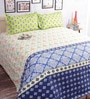 Blue Cotton Abstract Double Bed Sheet (with Pillow Covers) by Salona Bichona
