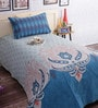 Salona Bichona Blue Cotton Abstract Single Bed Sheet Set (with Pillow Cover)