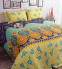 Salona Bichona Blue Cotton Floral 98 x 86 Inch Double Bed Sheet (with Pillow Covers)