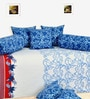Blue Cotton Floral Print Diwan Set - Set of 8 by Salona Bichona