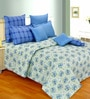 Salona Bichona Blue Cotton Floral 98 x 86 Inch Double Bedsheet (with Pillow Covers)