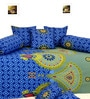 Blue & Green Cotton Diwan Set - Set of 8 by Salona Bichona
