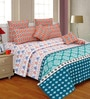 Salona Bichona Blue Abstract 106 x 106 Inch King Size Bedsheet (with Pillow Covers)