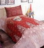 Salona Bichona Brown Cotton Abstract Bed Sheet Set (with Pillow Cover)