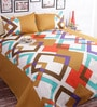 Brown Poly Cotton Queen Size BedSheet - Set of 3 by Salona Bichona