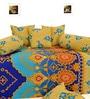 Yellow & Blue Cotton Diwan Set - Set of 8 by Salona Bichona